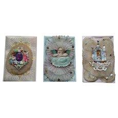 Three Decorative Christening Cards