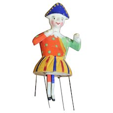 A Rare Mr Punch Wooden Spinet, Bristle Doll
