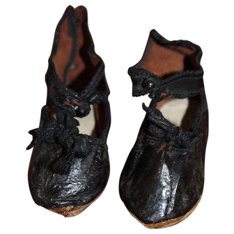 Antique French Leather Doll Shoes, Marked With A Hot Air Balloon, Size 9