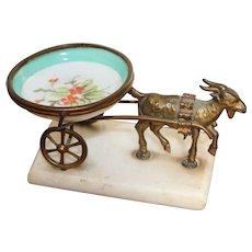 Antique Palais Royal Porcelain Ring Dish Goat and Cart