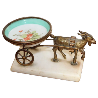 Antique Palais Royal Porcelain Ring Dish Goat and Cart