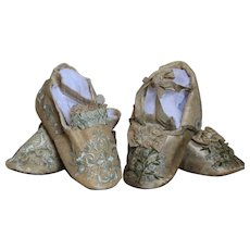 Two Pairs Of Victorian Silk Embroidered Baby Shoes