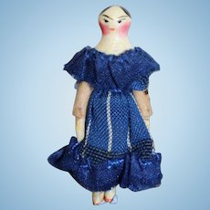 Tiny Fully Jointed Wooden Grodnertal Doll With Box