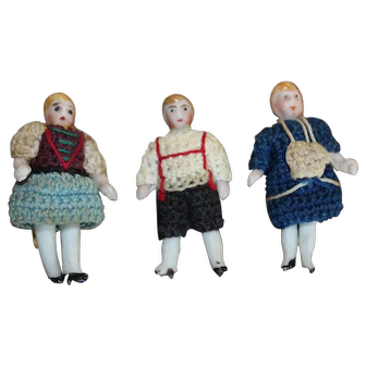 Three Antique Carl Horn All Bisque Dolls