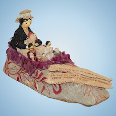 Rare Grodnertal Dolls in Shoe - Old Woman Who Lived In A Shoe