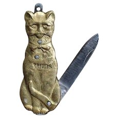 Wonderful Cat French Art Nouveau Pocket knife, Circa 1895