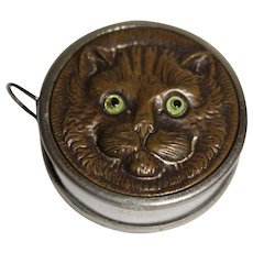 Antique Cat Tape Measure With Glass Eyes