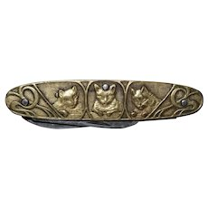 Fabulous French Art Nouveau Cat Pocket Knife
