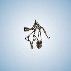 Tiny Silver Chatelaine For Your Fashion Doll