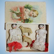 Twin Grodnertal Dolls With Spring |Lambs