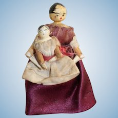 Sweet Grodnertal Mother and Baby Dolls