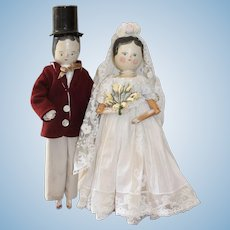 Bride And Groom Peg Jointed German Wooden Dolls