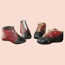 Two Pairs Of Early Victorian Children's Shoes, circa 1840/60