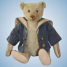 "Antique Steiff White 15"" Teddy Bear With Steiff Button"