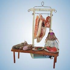 Wonderful Grodnertal Doll With Butcher's  Market Stall