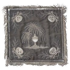 Rare Georgian Silver Thread Embroidered Religious Memento Mori