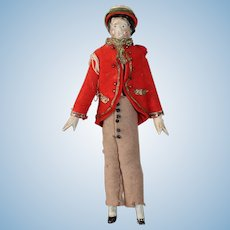 Charming Grodnertal Soldier, 5 1/2 inches Tall
