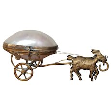 Sweet French Palais Royal Mother Of Pearl Goats Pulling A Carriage