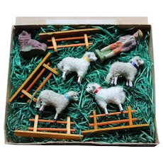 A Boxed German Putz Sheep Set, circa 1910