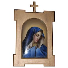 A Large Antique Hand Painted Porcelain Plaque Of Mary,  Late 19th Century