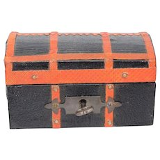 Fabulous French Antique Miniature Fashion Doll Trunk Silk Lined For Jumeau, Bru