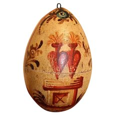 A Rare and Unusual Antique Reliquary Hand Painted Wooden Egg, Early 19th Century