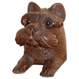 Fine Black Forest Terrier Dog Inkwell With Glass Eyes, c. 1890