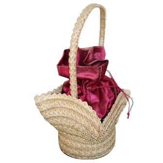 Small Wicker Silk Lined Bag, Late 19th Century