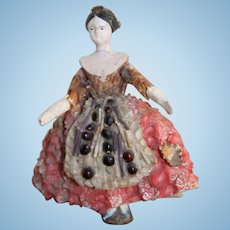 Wonderful Grodnertal Shell Doll, Fully Jointed