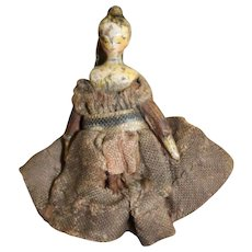 Charming Tiny Grodnertal Tuck Comb Wooden Doll
