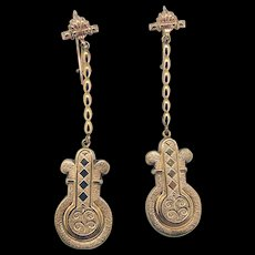 Victorian Long Gold Filled Earrings - 2 inches!