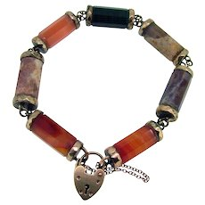 Victorian 19th Century Scottish Agate Bracelet - 9ct Heart Clasp