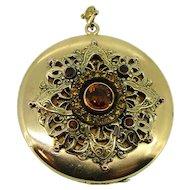 Victorian Czech Glass Large Locket - Gold Filled Ca 1890