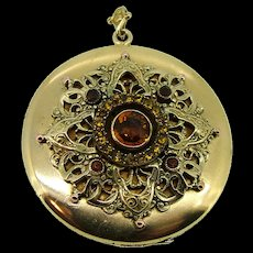 Victorian Czech Glass Large Locket - Gold Filled Ca 1890