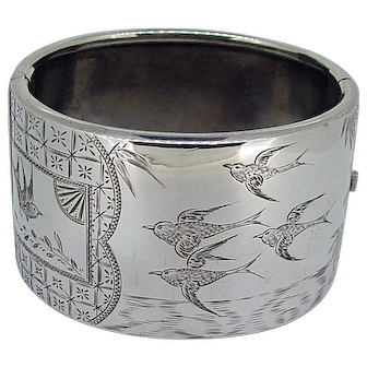 Victorian Sterling Birds in Flight Wide Bangle