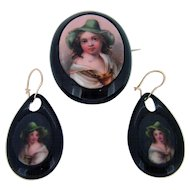 Victorian Hand Painted Whitby Jet Set - Pin & Earrings