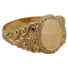 Vintage 14kt Yellow Gold Signet Ring - Beautiful Design!
