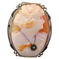 Art Deco Cameo 14k Filigree with Diamond Pendant