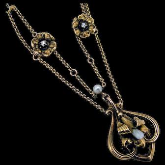 Art Nouveau 10k Dog Tooth Pearl Floral Diamond Necklace