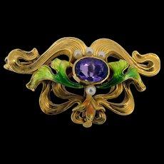 Victorian 14k French Enamel Amethyst Pearl Watch Pin