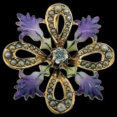 Victorian 14k French Enamel Diamond Pendant  - Seed Pearls