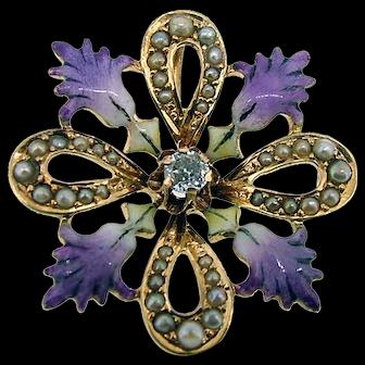 Victorian 14k French Enamel Diamond Pendant  - Seed Pearls