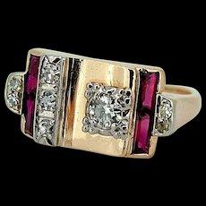 Retro Rose 14k Gold Diamond & Ruby Ring