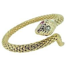 Mid 20th C 14k Diamond Head Ruby Eye Snake Bracelet