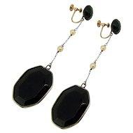 Art Deco Very Long Black Glass Earrings