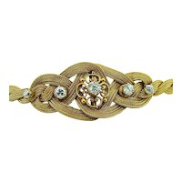 Victorian 14kt Diamond Yellow Gold Braided Bracelet - Etruscan Clasp