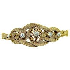 Victorian 14kt Diamond Yellow Gold Braided Bracelet - Etruscan Clasp
