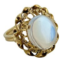 Vintage Large Moonstone Ring - Intricate Setting 14k Yellow Gold