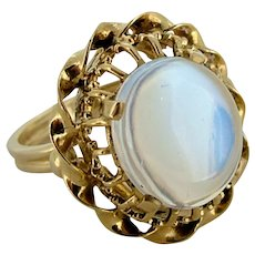 Vintage Large Moonstone Ring - Intricate Setting 14k Yellow Gold