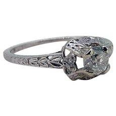 Edwardian 14kt Mine Cut Diamond Engagement Ring - .25ct Center!